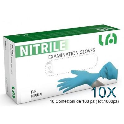GUANTI MONOUSO IN NITRILE - BLU - S - 5g - Senza polvere - 1000 pz