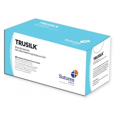 SUTURA NON ASSORBIBILE TRUSILK - CALIBRO 3/0, CURVA 1/2, AGO 22mm rotondo - 45cm - Nero - Conf. 12pz