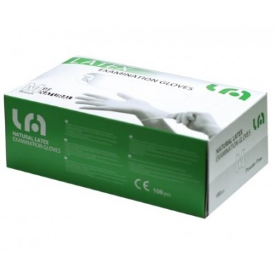 GUANTI MONOUSO IN LATTICE SENZA POLVERE - Taglia M - 5g - conf. 100 pz