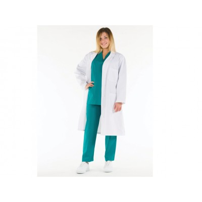 CAMICE MEDICO PROFESSIONALE DA DONNA - BIANCO - COTONE - Tg: 48
