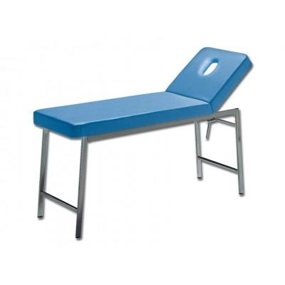 LETTINO MEDICO CLASSICO DA VISITA - cromato - blu - con foro - 180x57x73 Cm