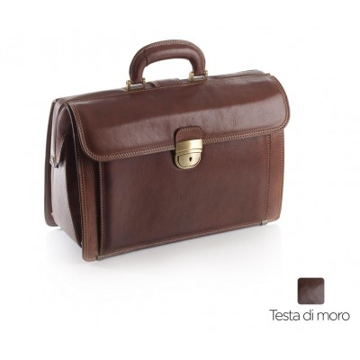 BORSA MEDICO IN PELLE - EXECUTIVE - TESTA DI MORO - Dim. 38x26x16