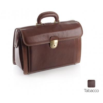 BORSA MEDICO IN PELLE - EXECUTIVE - TABACCO- Dim. 38x26x16