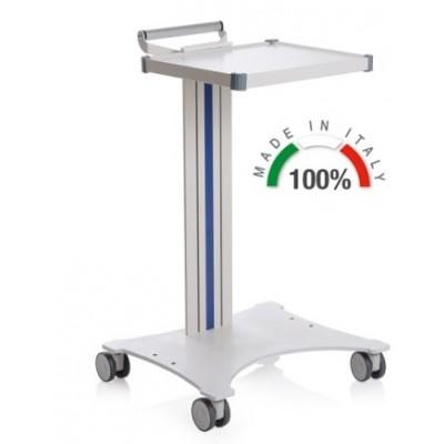 CARRELLO MEDICO POLIFUNZIONALE COMPONIBILE - CON BASE LASER - 1 Ripiano 350x400 mm - Moretti Mod. Eolo - Colonna in alluminio colore grigio