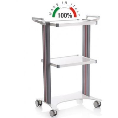 CARRELLO MEDICO POLIFUNZIONALE COMPONIBILE - 2 MANIGLIE - BASE LASER 450x630 - ALTEZZA 100 cm - Moretti Mod. Eolo - 2 colonne in alluminio bianche