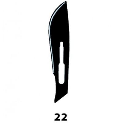 LAMA BISTURI MONOUSO IN ACCIAIO INOX STERILE N.22 - Conf. 100 pezzi