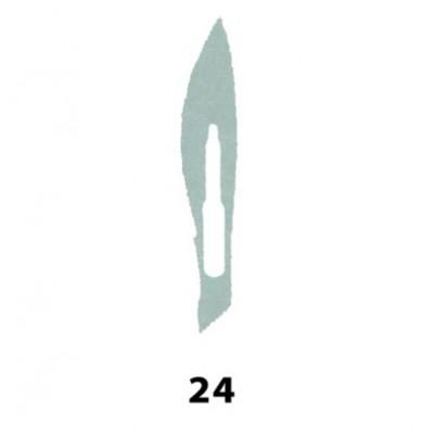 LAMA BISTURI MONOUSO IN ACCIAIO INOX STERILE N.24 - Conf. 100 pezzi