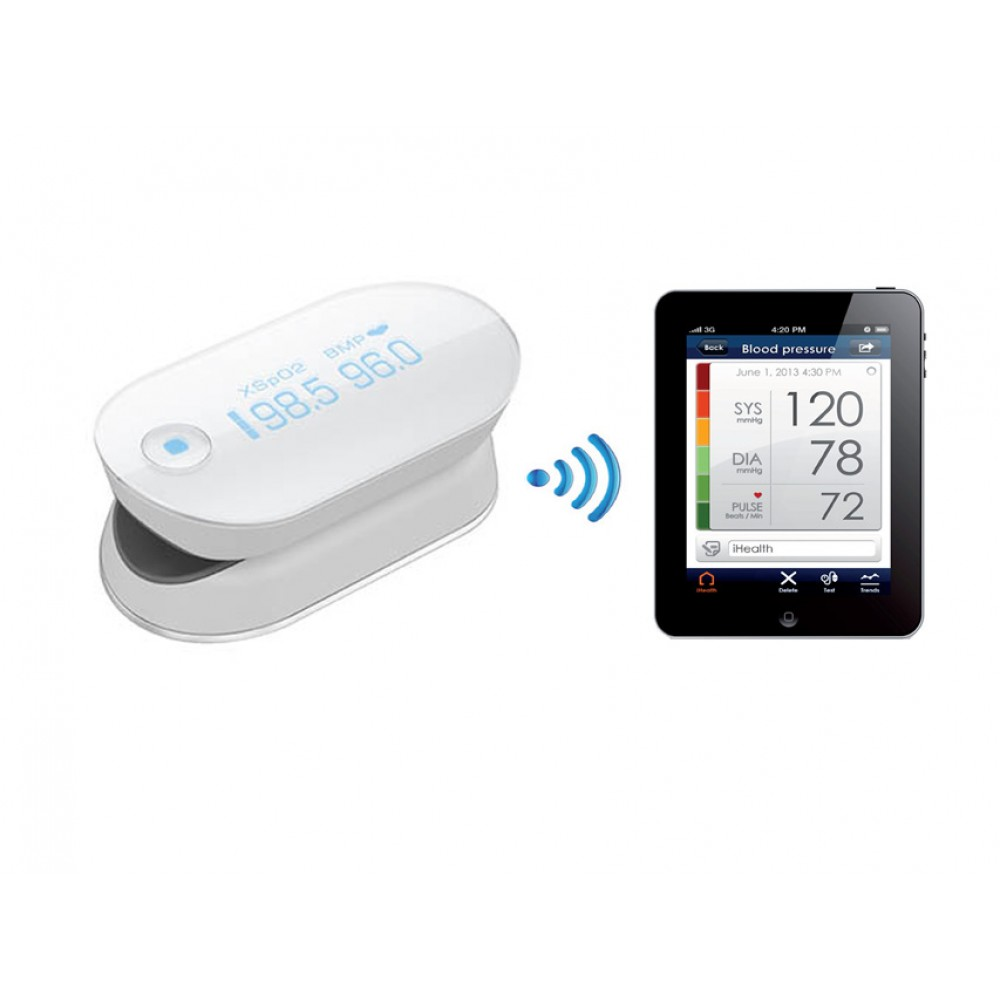 PULSOSSIMETRO WIRELESS - CONNESSIONE SMARTPHONE E TABLET - i-Health