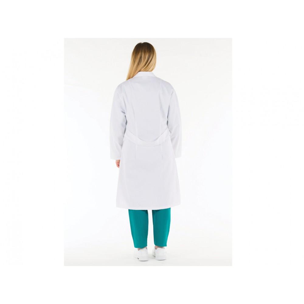 CAMICE MEDICO PROFESSIONALE DA DONNA - BIANCO - COTONE - Tg: 50