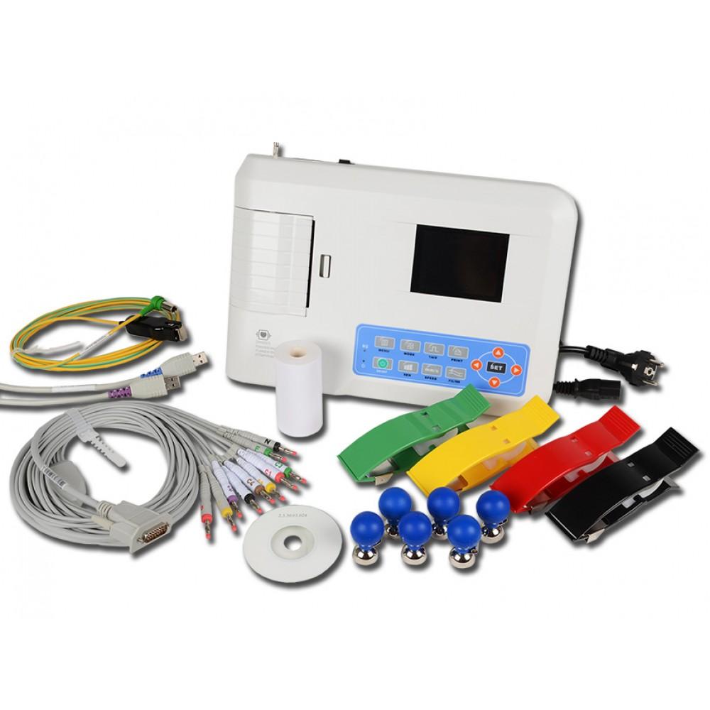 ECG ELETTROCARDIOGRAFO PORTATILE CONTEC 300G INTERPRETATIVO - 3 canali con display per 12 derivazioni