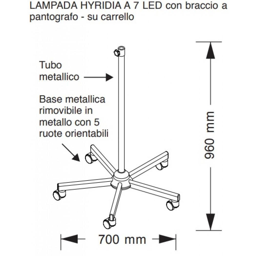LAMPADA MEDICALE HYDRA A 7 LED SU CARRELLO - BRACCIO PANTOGRAFO