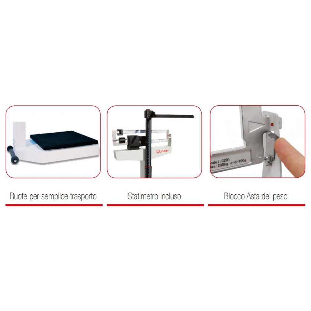 BILANCIA MEDICA MECCANICA CON ALTIMETRO - WUNDER Mod. C201