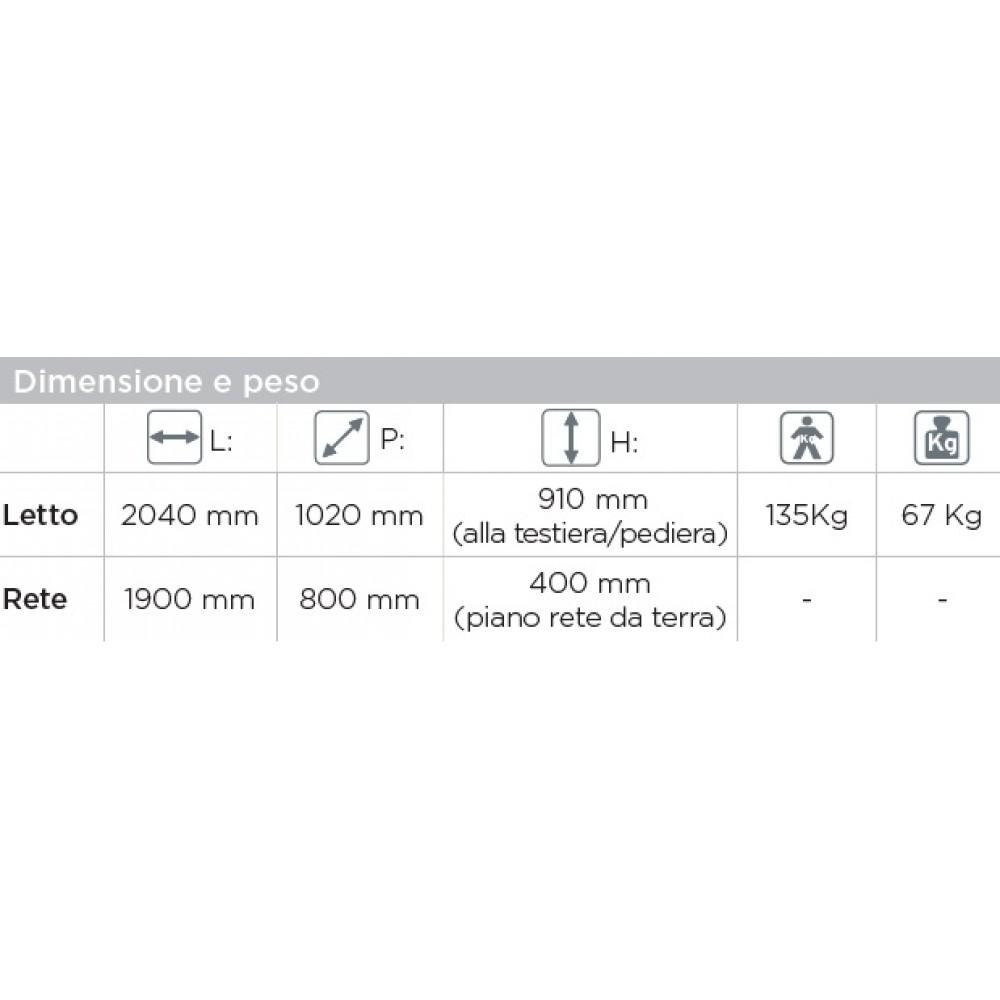LETTO DEGENZA ELETTRICO - 3 SNODI - ASTA ALZAMALATI - GERANIO