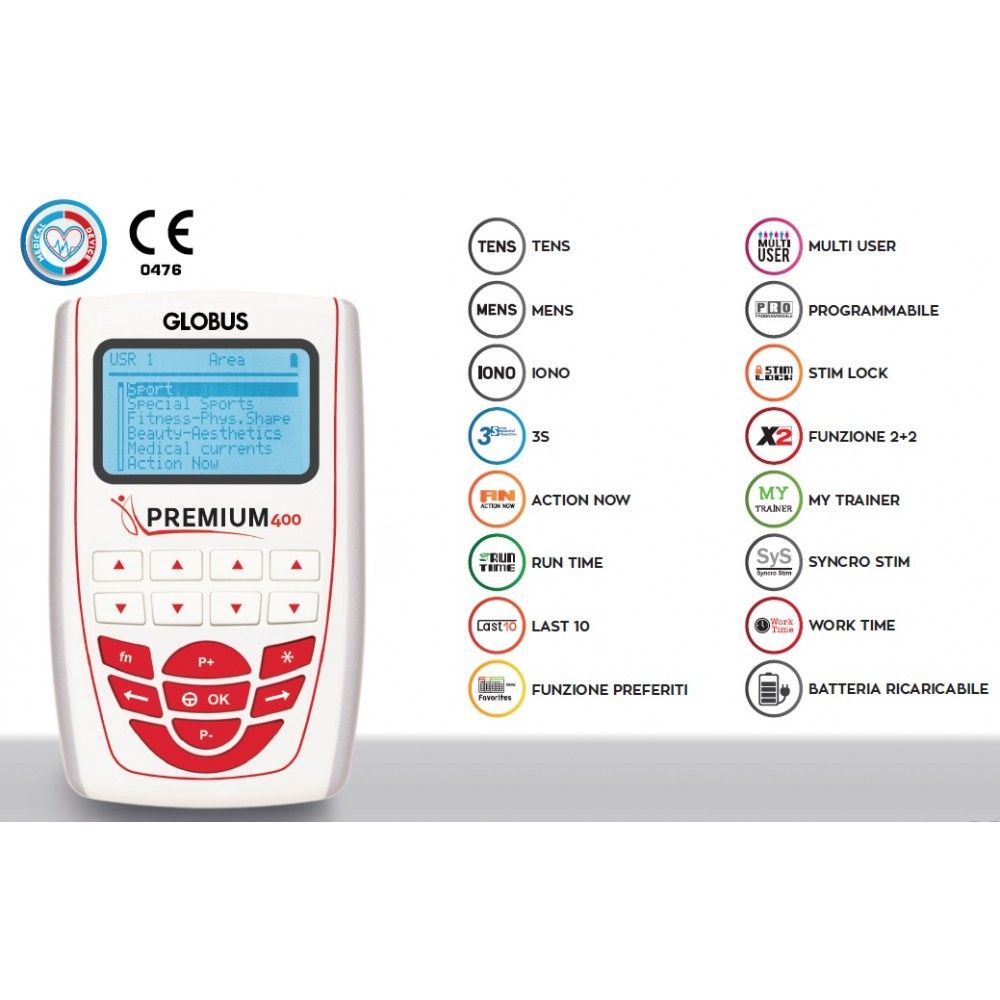 ELETTROSTIMOLATORE A 4 CANALI - 258 PROGRAMMI - Premium 400 Globus