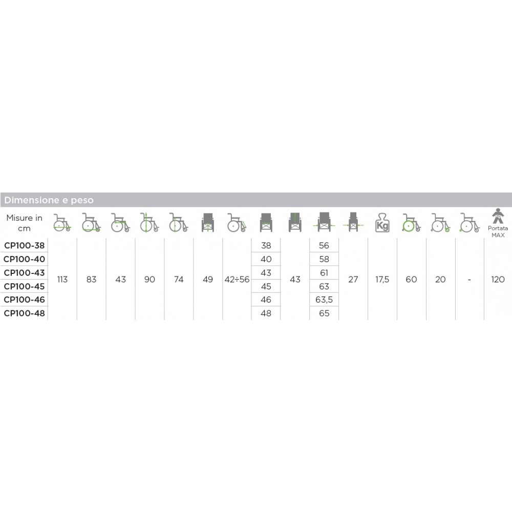 CARROZZINA PER DISABILI AD AUTOSPINTA - START CP100 - Dim. 45 Cm