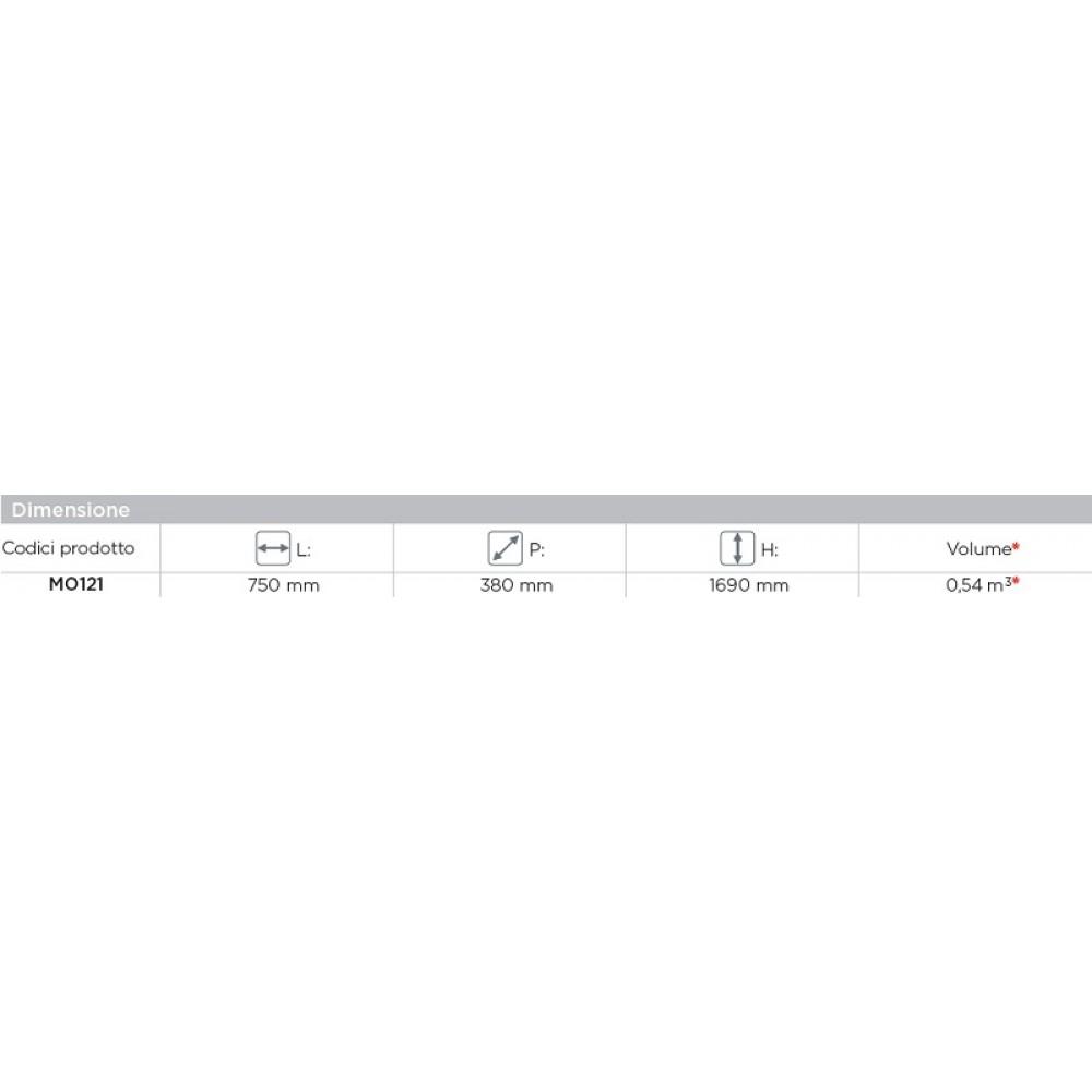 ARMADIO VETRINA 4 ANTE - 2 IN VETRO - 2 IN LAMIERA - 75x38x169 cm