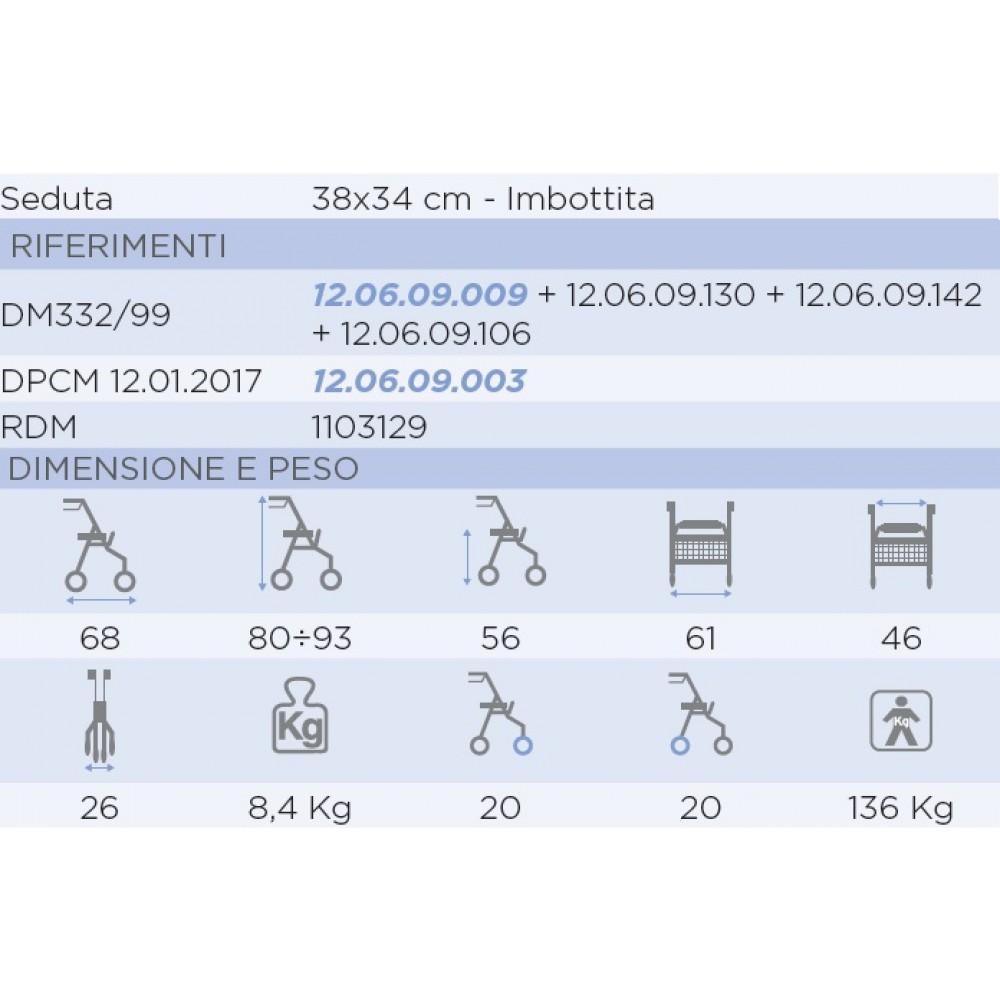 ROLLATOR PIEGHEVOLE SUPERLEGGERO - SEDUTA IMBOTTITA - Atlante RP520