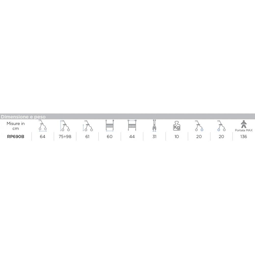 DEAMBULATORE ROLLATOR - 2 RUOTE FISSE E 2 PIROETTANTI - DYONE
