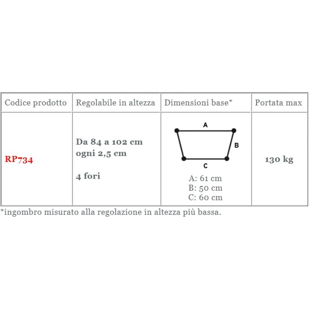 DEAMBULATORE PIEGHEVOLE - 2 RUOTE PIROETTANTI - 2 PUNTALI - Moretti RP734