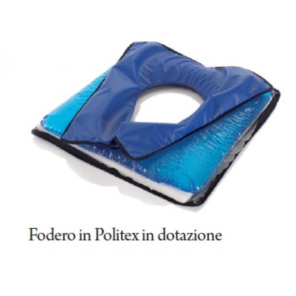 CUSCINO VISCOELASTICO CON FORO - FODERO IN POLITEX - Dim. 40x40 cm