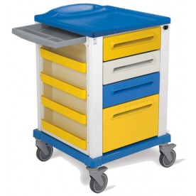 CARRELLO MEDICAZIONE PROFESSIONALE - dim. piccolo 67x64x100 cm - 4 cassetti - Colore Giallo