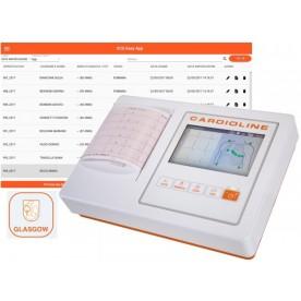 ECG A 3/6 CANALI - CARDIOLINE ECG100L - INTERPRETAZIONE GLASGOW - EASYAPP
