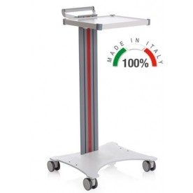 CARRELLO MEDICO POLIFUNZIONALE COMPATIBILE CON BASE SALDATA - ALTEZZA 100 cm - 1 RIPIANO 350x400 mm - Moretti Mod. Eolo - Colonna in alluminio colore bianco