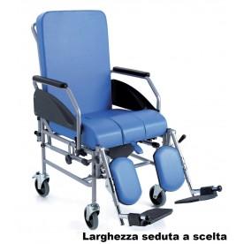 SEDIA COMODA DA TRANSITO - SCHIENALE ESTRAIBILE - 4 RUOTE DA 12,5cm