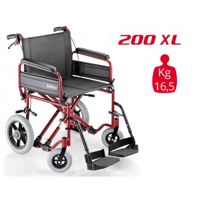 SEDIA A ROTELLE / CARROZZINA DISABILI DA TRANSITO - SUPERLEGGERA - Dim.Seduta 53 Cm. - Mod.SURACE 200 X LARGE