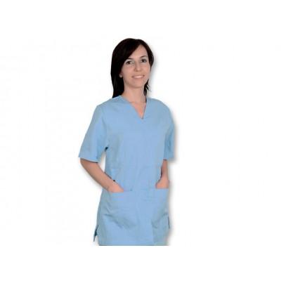 CASACCA MEDICO/SANITARIA CON BOTTONI - Unisex - Azzurra - Mis. S