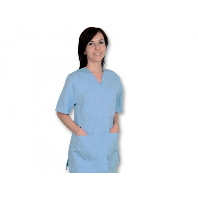 CASACCA MEDICO/SANITARIA CON BOTTONI - Unisex - Azzurra - Mis. L