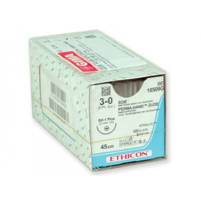 SUTURA SETA ETHICON PERMA-HAND - 3/0 ago 22 mm - Conf. da 12 pz.