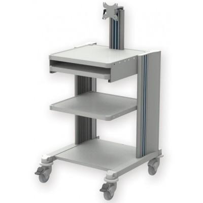CARRELLO PROFESSIONALE - 2 RIPIANI - CON SUPPORTO MONITOR E TASTIERA - Gima Mod. Pro cart