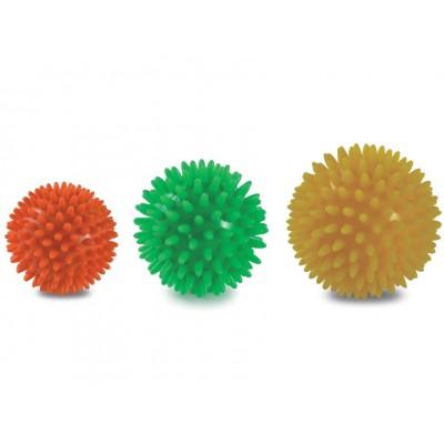 SFERE DA MASSAGGIO - SET DA 3 PALLINE - Diam. 6/7/8 cm - Rosso/Verde/Giallo