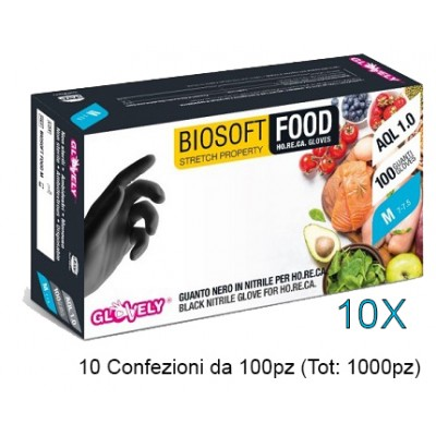 GUANTI MONOUSO IN NITRILE - SENZA POLVERE - BIOSOFT FOOD NERO - Mis.S - 1000pz