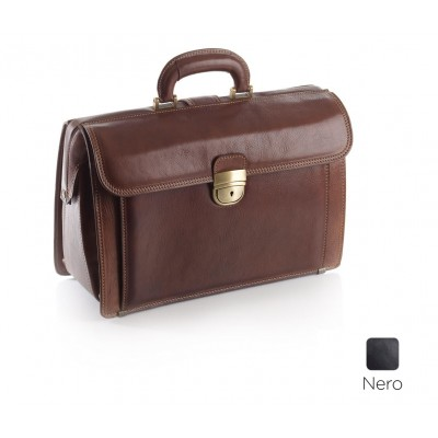 BORSA MEDICO IN PELLE - EXECUTIVE - NERO - Dim. 38x26x16