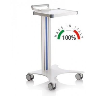 CARRELLO MEDICO POLIFUNZIONALE COMPONIBILE - 1 Ripiano 300x400 mm - Moretti Mod. Eolo - Colonna in alluminio colore grigio
