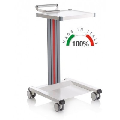 CARRELLO MEDICO POLIFUNZIONALE COMPATIBILE CON BASE SALDATA - 1 RIPIANO 300x400 mm - Moretti Mod. Eolo - Colonna in alluminio colore bianco
