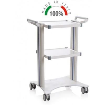 CARRELLO MEDICO POLIFUNZIONALE COMPONIBILE - 2 MANIGLIE - BASE LASER 450x530mm - Moretti Mod. Eolo - 2 colonne in alluminio bianche