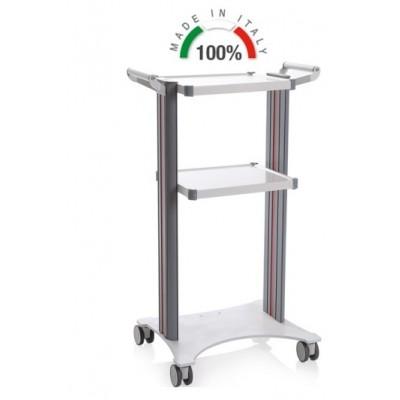 CARRELLO MEDICO POLIFUNZIONALE COMPONIBILE - 2 MANIGLIE - BASE LASER 450x530 - ALTEZZA 100 cm - Moretti Mod. Eolo - 2 colonne in alluminio bianche