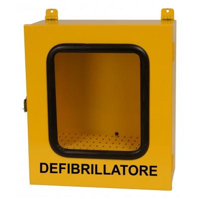 TECA / ARMADIETTO METALLICO PER DEFIBRILLATORI - RIPIANO REGOLABILE - uso esterno - giallo
