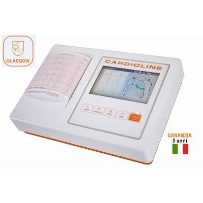 ELETTROCARDIOGRAFO - 3/6 CANALI - CARDIOLINE ECG100L + INTERPRETAZIONE GLASGOW