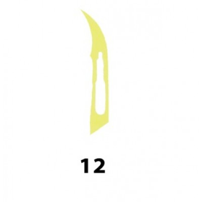 LAMA BISTURI MONOUSO IN ACCIAIO INOX STERILE N.12 - Conf. 100 pezzi