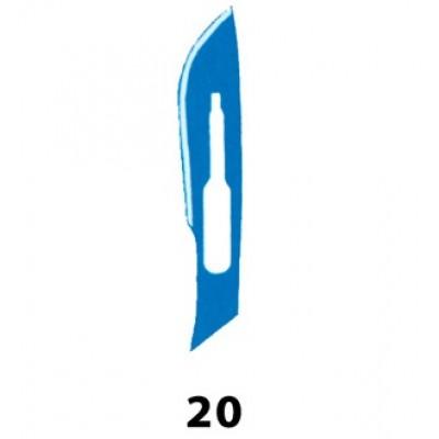 LAMA BISTURI MONOUSO IN ACCIAIO INOX STERILE N.20 - Conf. 100 pezzi