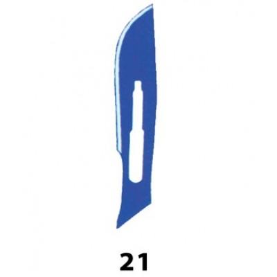 LAMA BISTURI MONOUSO IN ACCIAIO INOX STERILE N.21 - Conf. 100 pezzi