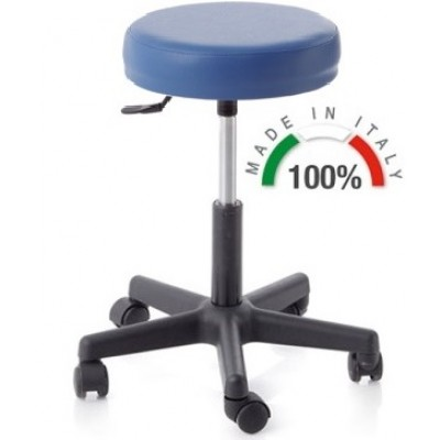 SGABELLO GIREVOLE CON BASE IN PLASTICA - PISTONE A GAS 140MM - blu