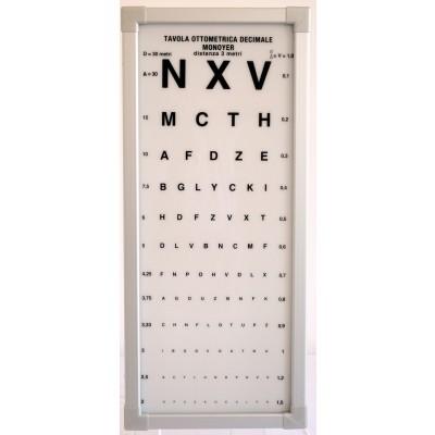 OTTOTIPO LUMINOSO PER VISITA OCULISTICA - DISTANZA 3 METRI - ODL Mod. Monoyer 6601 - Dim. 29x67x9 cm