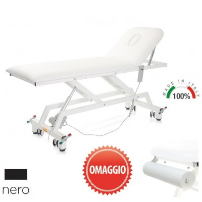 LETTINO MEDICO ELETTRICO - PORTAROTOLO INCLUSO - 62 cm - Lytus - Nero - con ruote
