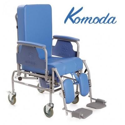 SEDIA COMODA WC A 4 RUOTE CON SCHIENALE RECLINABILE - Moretti mod. Komoda - Dim. Seduta 40 Cm.