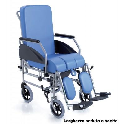 SEDIA COMODA DA TRANSITO - 4 RUOTE DA 20cm - SCHIENALE ESTRAIBILE